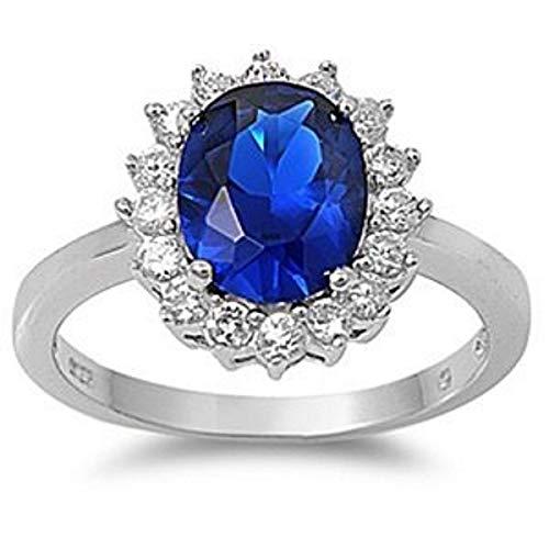 Kleine Schätze - Damen-Ring/Verlobungsring - 925 Sterlingsilber - Blau Saphir - Zirkonia (Inspiriert durch Prinzessin Diana)