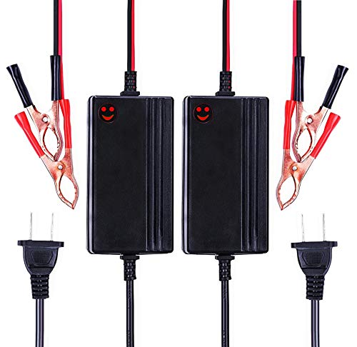 2PCS 12V to 14.8V Automatic Lead Acid Battery Charger/Maintainer, 1.2A Trickle Charger for car, Truck, Boat, Motorcycle, RV, Lawn Tractor