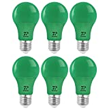 7Pandas LED Green Light Bulb, 40W Equivalent, 5W A19 / A60 Color Bulbs with E26 / E27 Medium Base for Halloween Decoration, Home Lighting, Home Decor, Non-Dimmable, Pack of 6