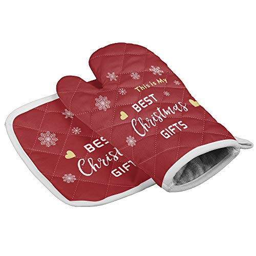 Durable Kitchen Insulated Gloves - Non-Slip, Heatproof, Microfiber Oven Mitts and Pot Holders with Cotton Infill for Cooking Baking Grilling, Best Christmas Gifts