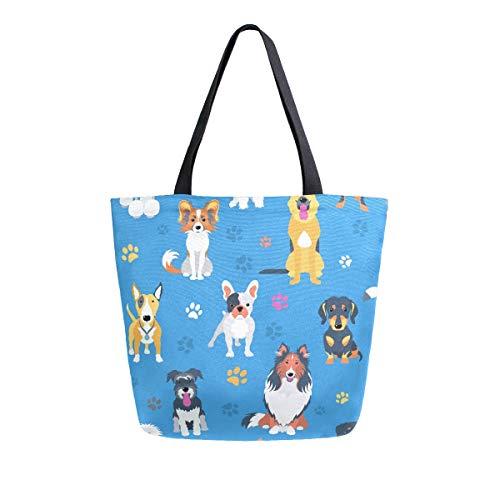 AHYLCL Dogs Pow Footprints Tote Bag Canvas Shoulder Bag Reusable Large Multipurpose Use Handbag for Work School Shopping Outdoor