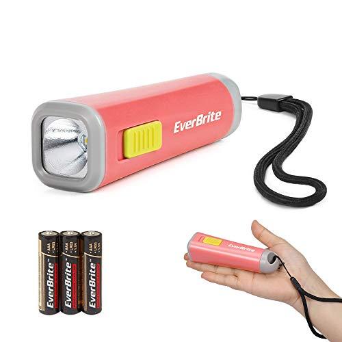 EverBrite Mini Torcia Bambini LED (Rosso), Torce Bambini Portatile 46g con Luce Gialla Calda, Ideale per Leggere, Campeggio e Passeggiate, 3 Batterie AAA Incluse