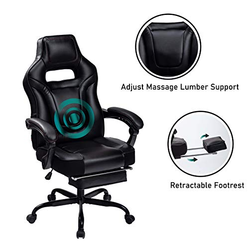 HEALGEN Big and Tall Gaming Chair with Footrest PC Computer Video Game Chair Racing Gamer Pu Leather Chair High Back Swivel Executive Ergonomic Office Chair with Headrest Lumbar Support (9076-Black)