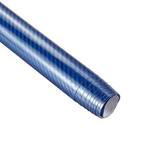 Película de vinilo de fibra de carbono 5D de 200 mm x 1520 mm 5D de alta calidad brillante para coche, pegatinas de coche, embalaje impermeable, película de fibra de carbono (nombre del color: azul)