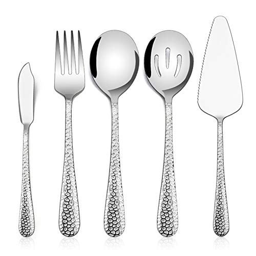 Hammered Serving Utensils, E-far 5-Piece Stainless Steel Hostess Serving Set for Buffet Party...