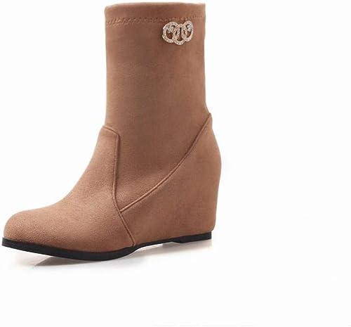 ZHRUI Stiefel para damen - Stiefel Botines Martin de Stiefel Cortas de tacón Medio para damenes, de Tubo Corto de Invierno, de Gran tamaño 36-43 (Farbe   Gelb, tamaño   41)