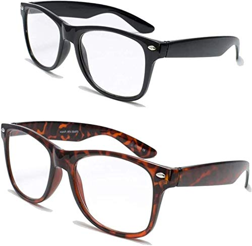 2 Pairs Deluxe Reading Glasses - Comfortable Stylish Simple Readers Magnification (1 tortoise 1 black, 1.25 x)