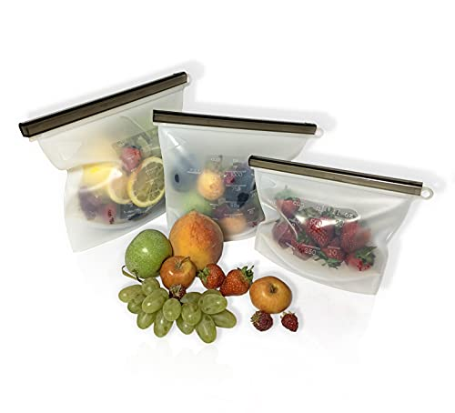 Store LLC Premium Quality Silicone Reusable Food Storage Bags Reusable Freezer Bags.Vacuum Zip Containers.Leakproof, Dishwasher-Safe, Microwave. Reusable Food Bunkers. Zip Top Bags.(3)