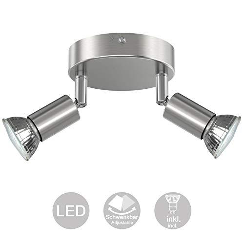 Creyer LED Deckenstrahler 2 Flammig, Schwenkbar LED Deckenleuchte, ø110mm (inkl. 2 x 4W GU10 LED Leuchtmittel, 400LM, Warmweiß) Modern Wohnzimmer LED Deckenspot, Rund LED Deckenlampe - Matte Nickel