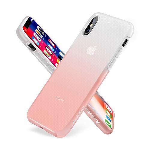 RedyRun Funda Protectora Transparente para iPhone XS MAX en Policarbonato y Silicona Líquida Bi-Material Bumper A Prueba de choques, Ultra Fina, Duradera, Semitransparente, Rosa Claro