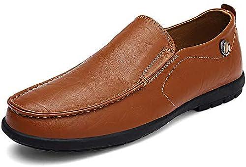 EGS-chaussures Chaussures de Conduite pour Hommes Chaussures Tout-Aller, Tout-Aller, Chaussures pour Hommes en Cuir, Chaussures de Cricket (Couleur   rouge marron, Taille   44)  marques de créateurs bon marché