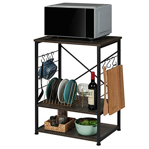 EPHEX Küchenregal auf Rollen, Servierwagen, Mikrowellenregal mit 3 Regalböden Industrie-Design, X-förmiger Stabiler Rahmen, mit 6 Haken, Vintage Grau