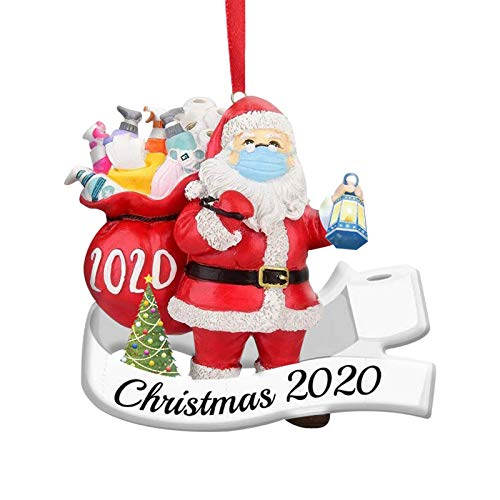 Collifun 2020 Christmas Ornaments Quarantine Santa Ornament with Mask Decorate Xmas Tree Decorations Christmas Hanging Ornament Cute Santa Claus Decoration for Holiday (1PC)