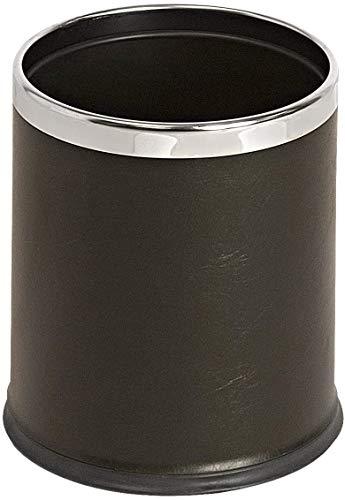 TableCraft Papierkorb | Büro Mülleimer | runder Mülleimer | Abfalleimer | Bürokorb | Leder- Schwarz | Doppelwandiger runder Papierkorb in der Größe 28 x 2 cm 10 L