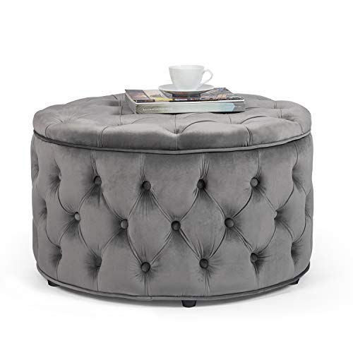 Homebeez Round Velvet Storage Ottoman, Button Tufted Footrest Stool Coffee Table (Grey)