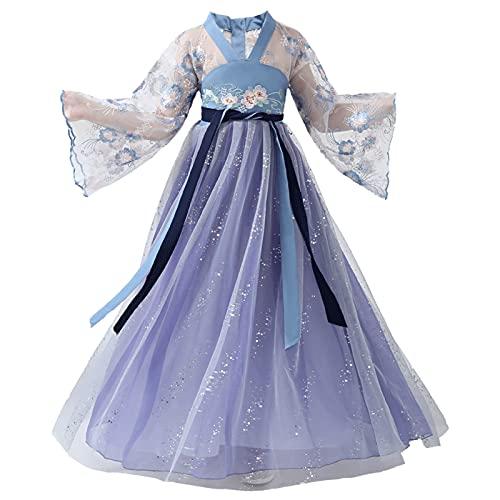 XIAOXIAO Hanfu - Disfraz de hada estrellada tradicional chino antiguo hanfu para nia, elegante, para fiesta, princesa, disfraz de cosplay (tamao: 140 cm)