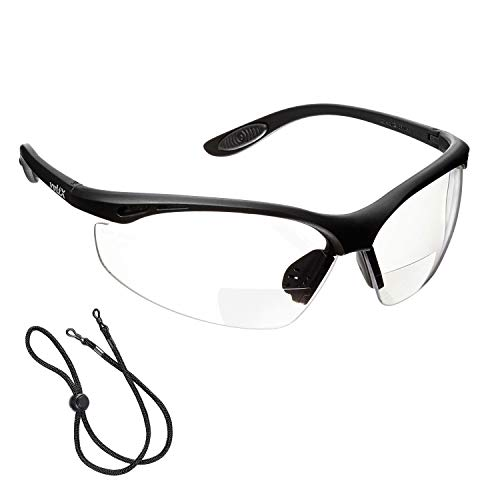 voltX \'Constructor\' BIFOKALE Schutzbrille mit Lesehilfe (KLAR +2.0 Dioptrie) CE EN166F Zertifiziert/Sportbrille für Radler enthält Sicherheitsband – Bifocal Safety Glasses, Anti-Fog UV400 Linse