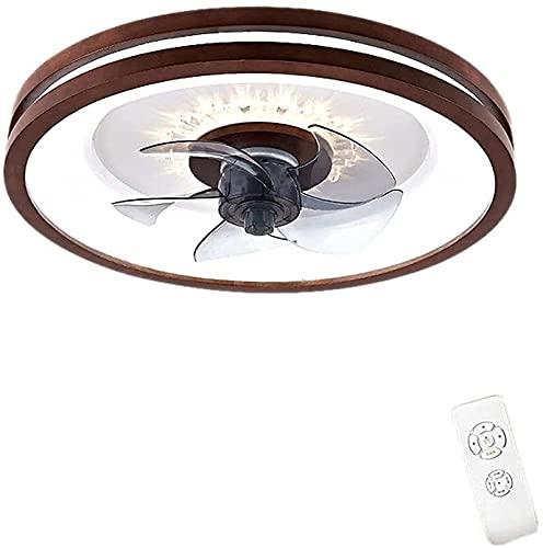 Lámpara de techo redondo Ventilador de techo con iluminación LED y control remoto Ventilador silencioso Ventilador de madera Fans de techo Iluminación para la oficina de estudio de dormitorio Indoor (