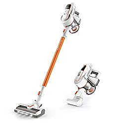 【300W Bruhless Motor】: it provides ultra-quiet 300W powerful suction up to 16,000pa in Max Mode, which is 4 times than ordinary DC motor cordless vacuums; 2 suction power modes for lifting pet fur, dirt and food crumbs with ease 【Cordless vacuum clea...