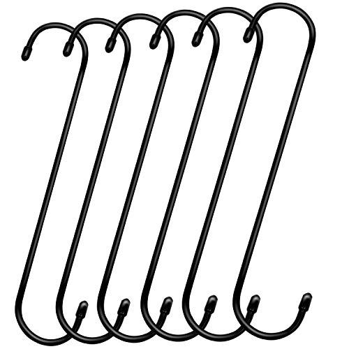 ESFUN 6 Pack 12 inch Heavy Duty Extra Large S Hooks Black Plant Hanging Hooks Long S Shaped Extension Hooks for Kitchenware,Utensils,Pergola,Closet,Flower Basket,Garden,Patio,Indoor Outdoor Uses