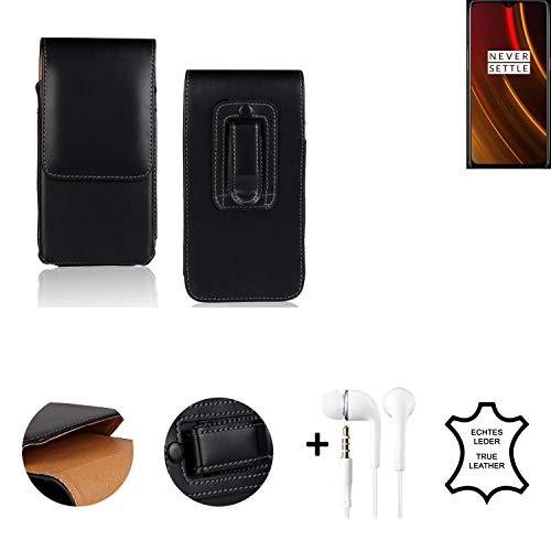 K-S-Trade® Leder Gürtel Tasche + Kopfhörer Für OnePlus 6T McLaren Edition Seitentasche Belt Pouch Holster Handy-Hülle Gürteltasche Schutz-Hülle Etui Schwarz 1x
