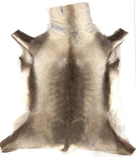 By Max Alfombra de Piele de Reno 238 Color: Gris/Marrón Medida: 120 x 105 cm - Cuero de Calidad Leder Von