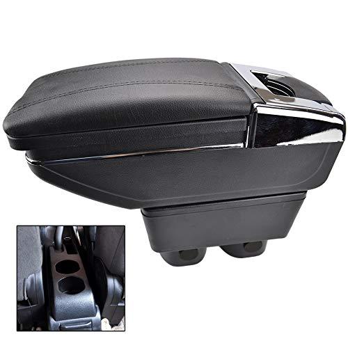 XUKEY Armrest Rotatable Black Leather Center Console Storage Box for Nissan Versa Tiida Latio 2007-2011 Arm Rest