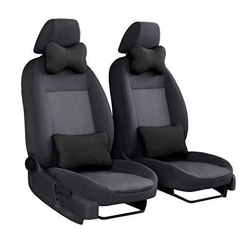 Nackenkissen und Rückenkissen 2X Set für Auto Lendenkissen Reisekissen Schwarz