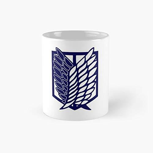 Scout Regiment Shield Attack On Titan Logo Titans Levi Ackerman Classic Mug - 11 Ounce For Coffee, Tea, Chocolate Or Latte.