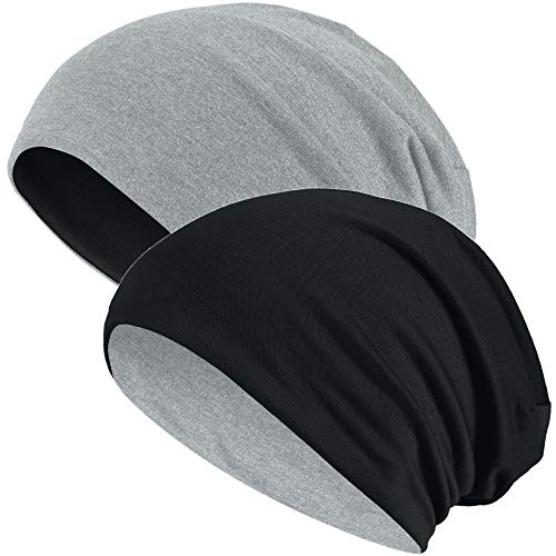 Hatstar 2in1 Reversible Damen Beanie   Damen und Herren Mütze   Wintermütze   weich & warm (hellgrau/schwarz)
