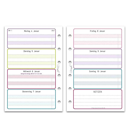 SinnWunder® Premium-Kalendereinlagen - Wochenplan mit 1 Woche auf 2 Seiten - LuckySinn (2021 - Pocket)