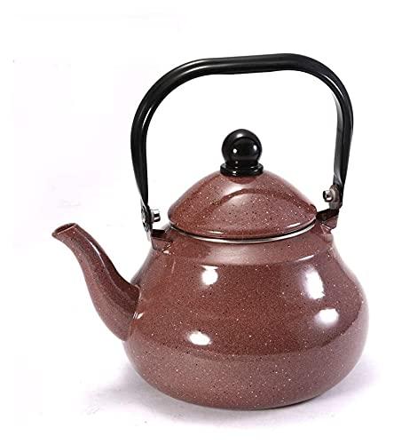 Kettle Kettles 2.5L chino tradicional vintage hoja suelta té café cafetera recubierto acero estilo vintage té (Color : Brown, Size : 2.5L)