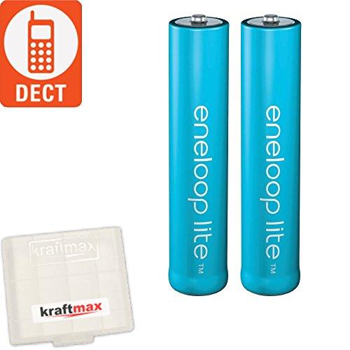 kraftmax 2er-Pack Panasonic Eneloop LITE AAA Akkus - speziell für schnurlose Telefone/DECT Telefon - 2X Micro Akku Batterien Akkubox