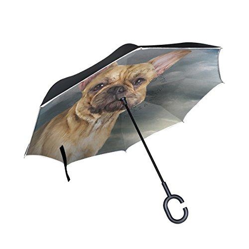 MyDaily Double Layer seitenverkehrt Regenschirm Cars Rückseite Regenschirm französische Bulldogge Winddicht UV Proof Reisen Outdoor Regenschirm