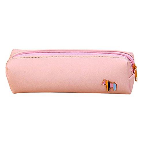 display08Kunstleder Bleistift Stift Fall Kosmetik Tasche Tasche Geldbörse Reißverschluss Make-up Tasche rose