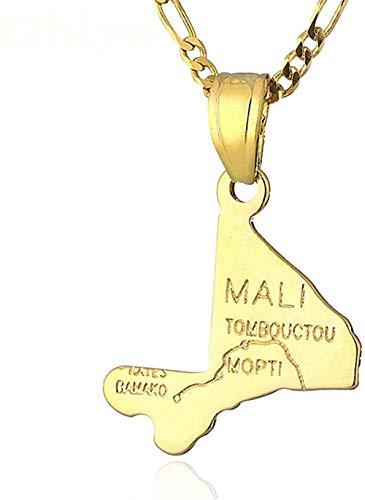BACKZY MXJP Halskette Top Marke Gold Mali Map Anhänger & Halskette Für Frauen & Männer Gold Farbe Mali Country Map Schmuck Anhänger