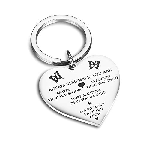 Udobuy Stainless Steel Pendant Always Remember You are Braver Than You Believe Inspirational Letters Engraved Charm Necklace (Heart)
