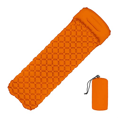 HaushaltKuche Ultralight Fast Filling Inflatable Sleeping Pad Camping Mat With Pillow air mattress Cushion Sleeping Bag inflatable Sofa (Color : Orange)