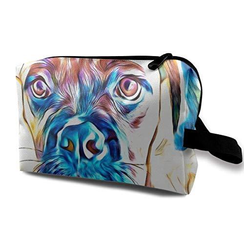 Inquisitive Boxer Dog Organiseur de maquillage pour salle de bain et organisateur Rose scintillant