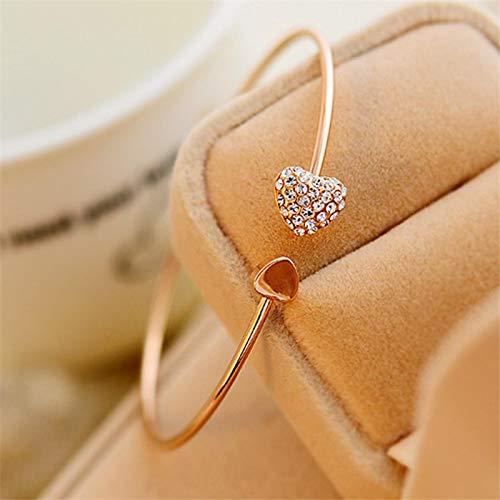 ShFhhwrl Hand Bangle Bracelets Jewellery For Womens Adjustable Crystal Double Heart Bow Cuff Opening Bracelet Women J