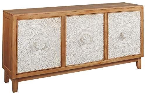 Signature Design by Ashley - Lorenburg Accent Cabinet - Boho Chic - Antique White/Brown