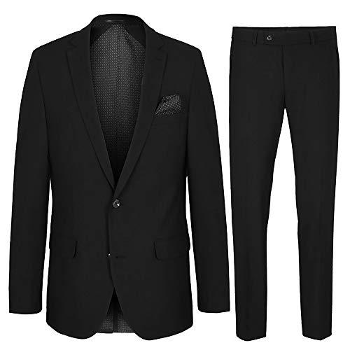 Paul Malone Herren Anzug Regular fit schwarz - Schurwolle - Sakko und Hose Gr. 114