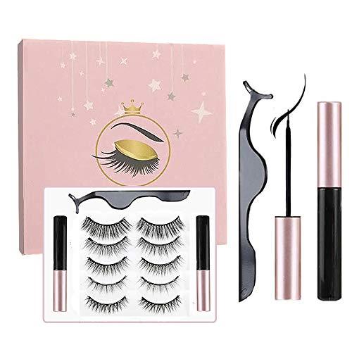 Sunwuun Pestañas magnéticas con delineador de ojos, pestañas postizas magnéticas reutilizables y...