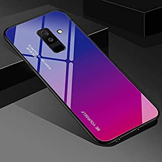MobiLooks® for Samasung S9 Plus [Blue Ray] Luxurious Colourful Toughened Glass Back Case with Shockproof TPU Soft Bumper Back Cover for Samsung Galaxy S9 Plus (Purple)