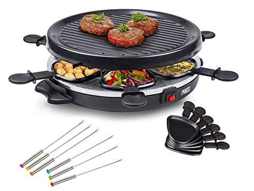 Juego de raclette y parrilla con tenedores Teppan para 6 personas, pequeña parrilla redonda de mesa, 800 W, revestimiento antiadherente