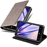 Cadorabo Hülle für Nokia Lumia 625 - Hülle in Kaffee BRAUN – Handyhülle mit Magnetverschluss, Standfunktion & Kartenfach - Hülle Cover Schutzhülle Etui Tasche Book Klapp Style