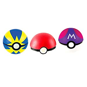 sqzkzc 48 Pokémon Figuras de colección aleatorias + 3 Poké Bolas Pokéball, Three Colors