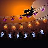 NEXVIN Halloween Deko, 3 Stück 20 LED Halloween Lichterkette Batterie für Außen & Innen Dekoration, Orange Kürbis/Weiß Geister/Lila Fledermaus