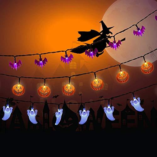 NEXVIN Decoración Halloween, Cadena de Luces de 3 Paquetes 20 LED, Guirnalda Luces de Diseño de Calabazas Halloween, Murciélagos y Fantasmas para Halloween Decoracion