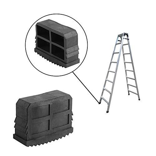 Set met 2 universele ladders van rubber, reservevoetjes, voor ladder, multifunctionele ladder, zwart